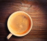 Cup of fresh espresso on table — Stockfoto