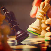 Playing wooden chess pieces — 图库照片