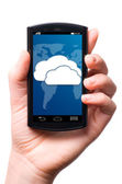 Cloud touch screen phone — Stock Photo