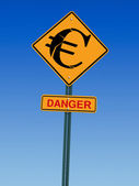 Euro danger ahead sign — Stock Photo