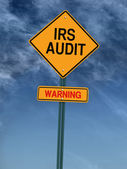 Warning irs audit post sign — Stock Photo