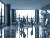 Business people activity in the office lobby motion blur — Stock Photo