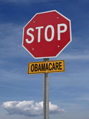 Stop obamacare ahead conceptual post — Stock Photo