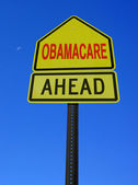 Obamacare ahead conceptual post — Stock Photo