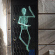 Halloween skeleton decor in the window — Stock Photo