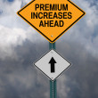 Stock Photo: Premium increases ahead roadsign