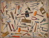Vintage tools mix collage — Stock Photo