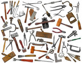 Vintage tools mix collage on white — Stock Photo