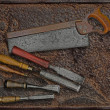 Постер, плакат: Vintage woodworking tools over plate