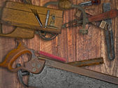Vintage woodworking tools on wooden bench — 图库照片