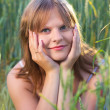 Girl In Wheat Field — Stock fotografie #12629779