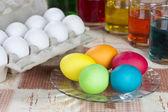 Zbarvení vajec velikonoční — Stock fotografie
