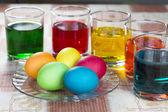 Coloring eggs for Easter holiday — Stock Photo