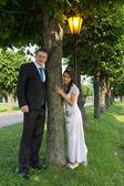 Portrait of the newlyweds near the tree — Stock Photo