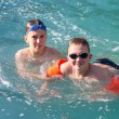 Two boys in the pool outdoors — Stock Photo #31292025