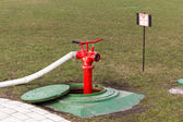 Red fire hydrant stands in manhole — Stock Photo