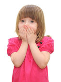 Little girl with covered his mouth — Stock Photo