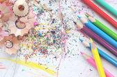Pencils Shavings Background — Stock Photo