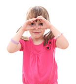 Children looking through imaginary binoculars — Stock Photo