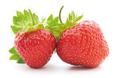 Two strawberries with leaf — Stock Photo