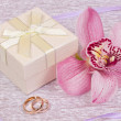 Box for gift and orchid - Stock Photo
