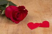 Rote Rose und Herz-symbol — Stockfoto