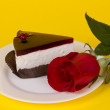 Piece of cake and roses - Stock Photo