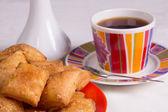 Waffles and tea — Stock Photo