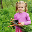Girl working in the garden — Stockfoto