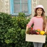 dívka s krabicí zeleniny — Stock fotografie