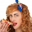 Woman with pizza — Stock Photo