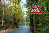 Sign slippery road — Stock Photo