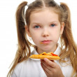 Little girl eating pizza — Stock Photo #36586045
