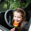 Girl in car — Stock Photo #8660059