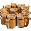 Wooden mugs — Stock Photo