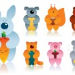 Cartoon animals gradient version — Imagens vectoriais em stock