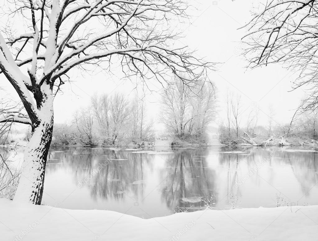 Winter landscape of frosted river  Stock Photo #14042978