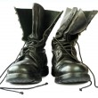 Military style black leather boots — Stock Photo