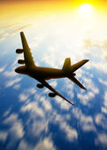 Silhouette of plane fly in the skys — Stock Photo