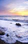 Orange mystic sunset on the sea. — Stock Photo