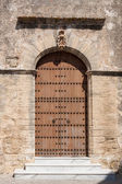 Old wooden church door — Stock Photo