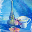 Still life with cup and flowers, oil painting on canvas — Stock Photo