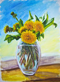 Dandelions, oil painting on canvas — Stock Photo