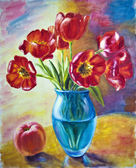 Still life with tulips and peach, oil painting on canvas — Stock Photo