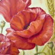 Poppies in wheat, oil painting on canvas - 图库照片