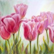 Stock Photo: Tulips, oil painting on canvas