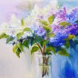 Lilacs in a Vase, oil painting on canvas — Stok fotoğraf