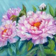 Peonies, oil painting on canvas - 图库照片