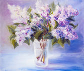 Lilacs in a Vase, oil painting on canvas — Stock Photo