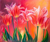 Tulips, oil painting on canvas — Stock Photo